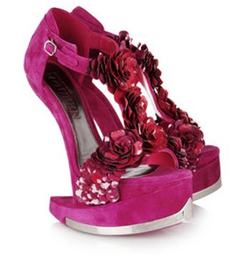 Footwear Fancy: Alexander McQueen Flower Suede Platform Sandals