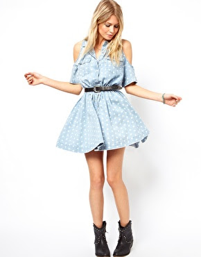 Want it on Wednesday: ASOS Cold Shoulder Denim Dress in Washed Spot Print