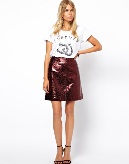 Want it on Wednesday: ASOS Oxblood A-Line LeatherSkirt