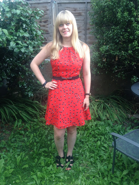 What I Wore Today: Little Red Bird-Print Dress