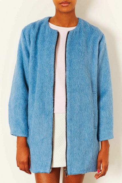 Want it on Wednesday: Topshop's Blue Furry Bomber