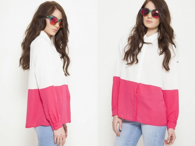Want it on Wednesday: This Pink and Ivory Colour Block Shirt