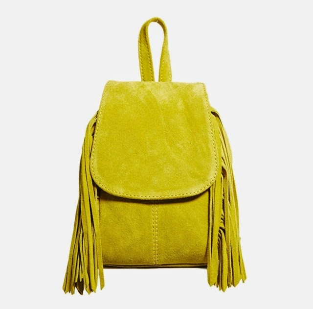 Want it on Wednesday: This Suede Yellow Fringed Backpack