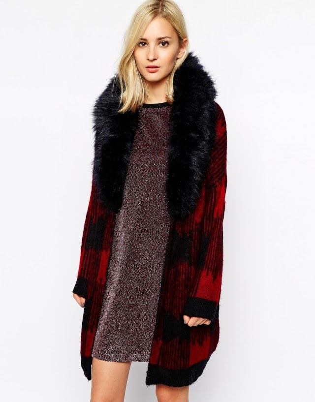 Want it on Wednesday: This River Island Cardi with Banging Faux-Fur Collar