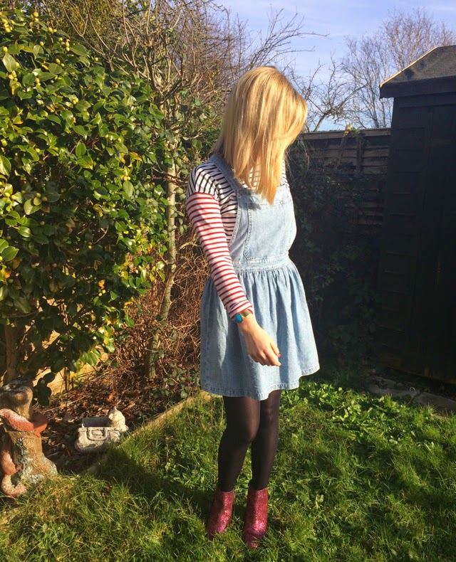 How To Wear a Denim Pinafore in Winter