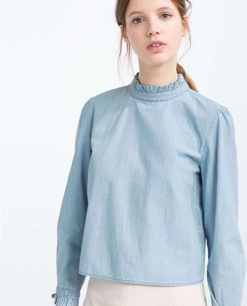 Want it on Wednesday: This Denim Pleated Collar Shirt