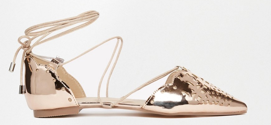 ASOS LORDSHIP Lace Up Pointed Ballet Flats