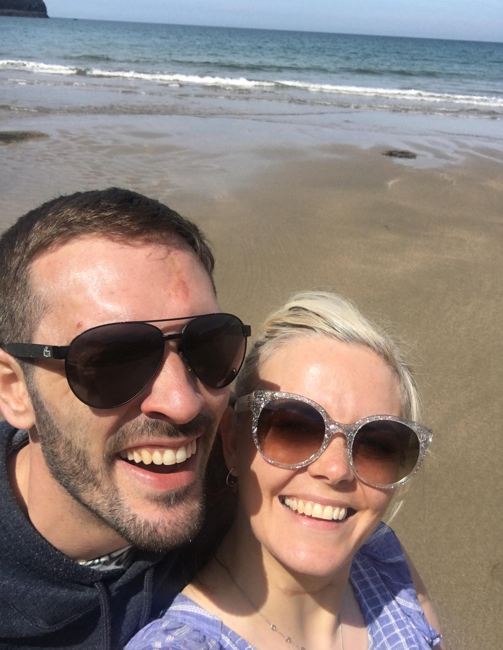 jo and al at trebarwith strand