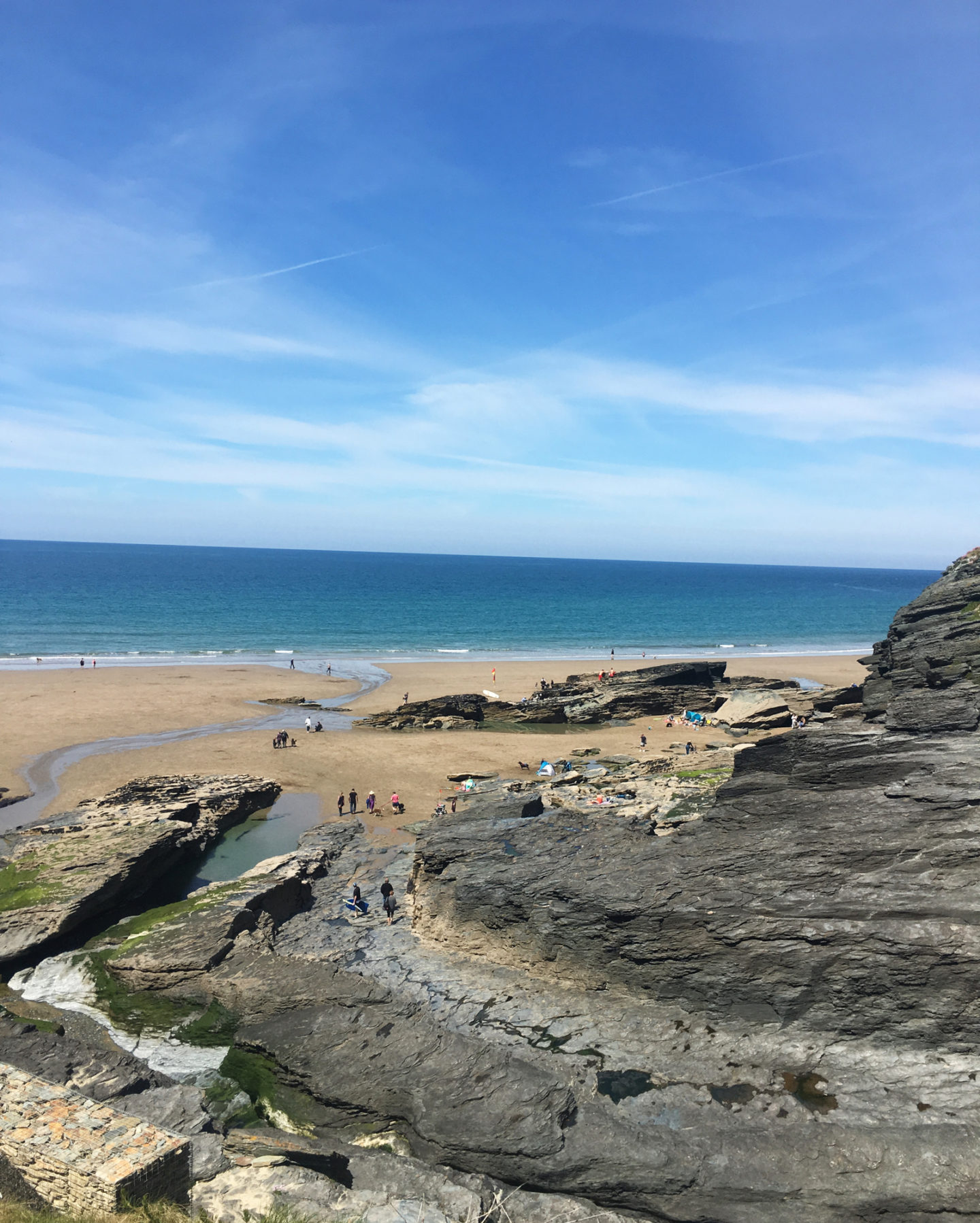 Trebarwith Strand beach at low tide