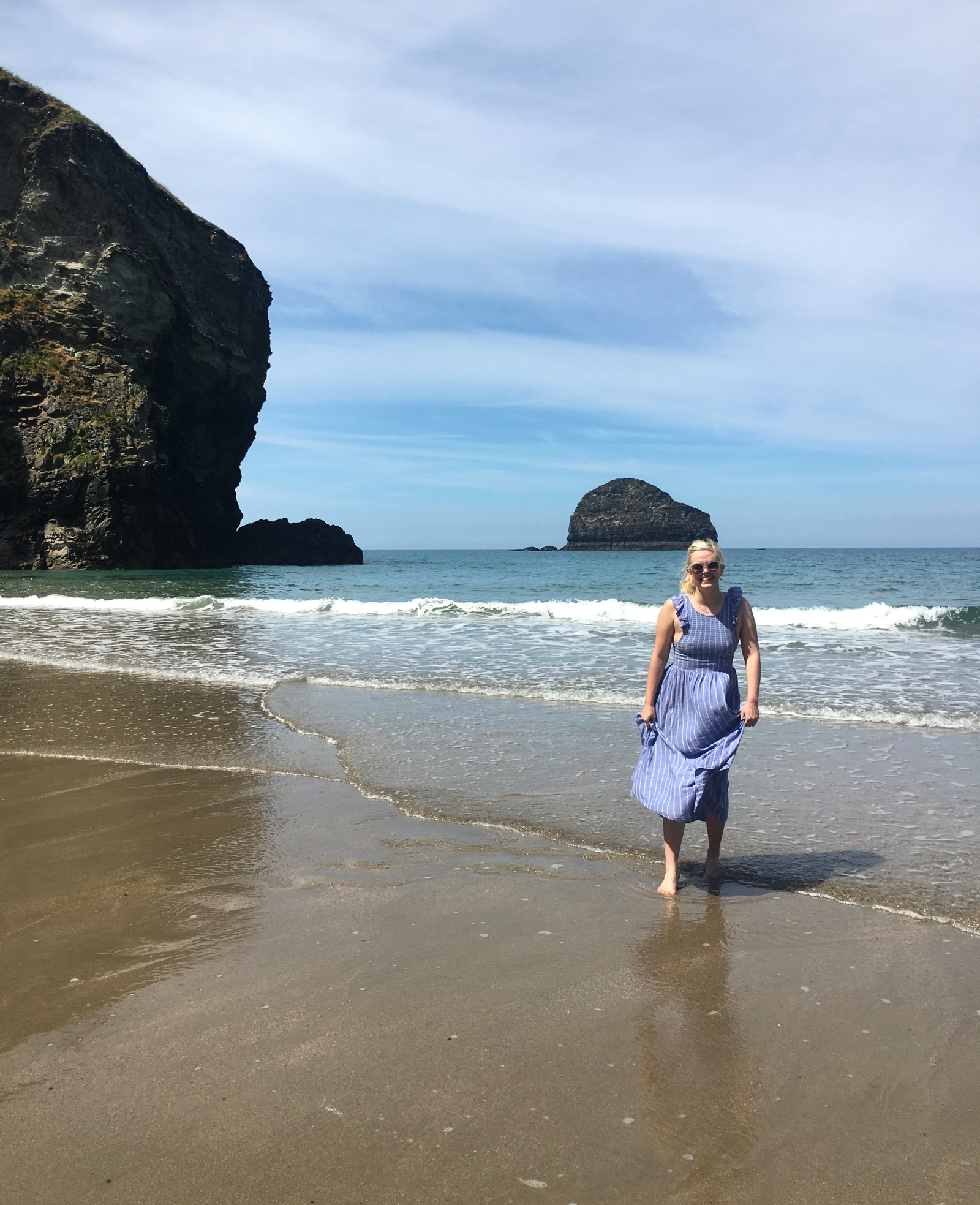 Jo on Trebarwith Strand beach